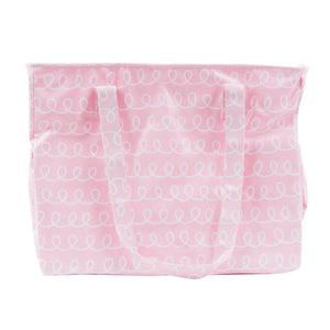 Front view of our Pink Swirl Vinyl Diaper Bag