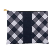 Load image into Gallery viewer, black and white check pouch with bamboo zipper pull