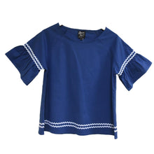 Load image into Gallery viewer, Front view of our Navy Ric Rac Shirt