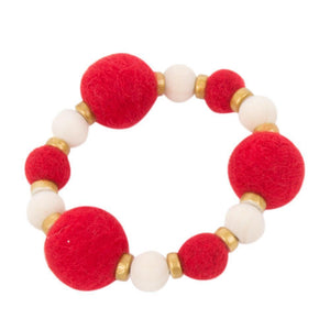 Front view of our Red Felt Bead Bracelet
