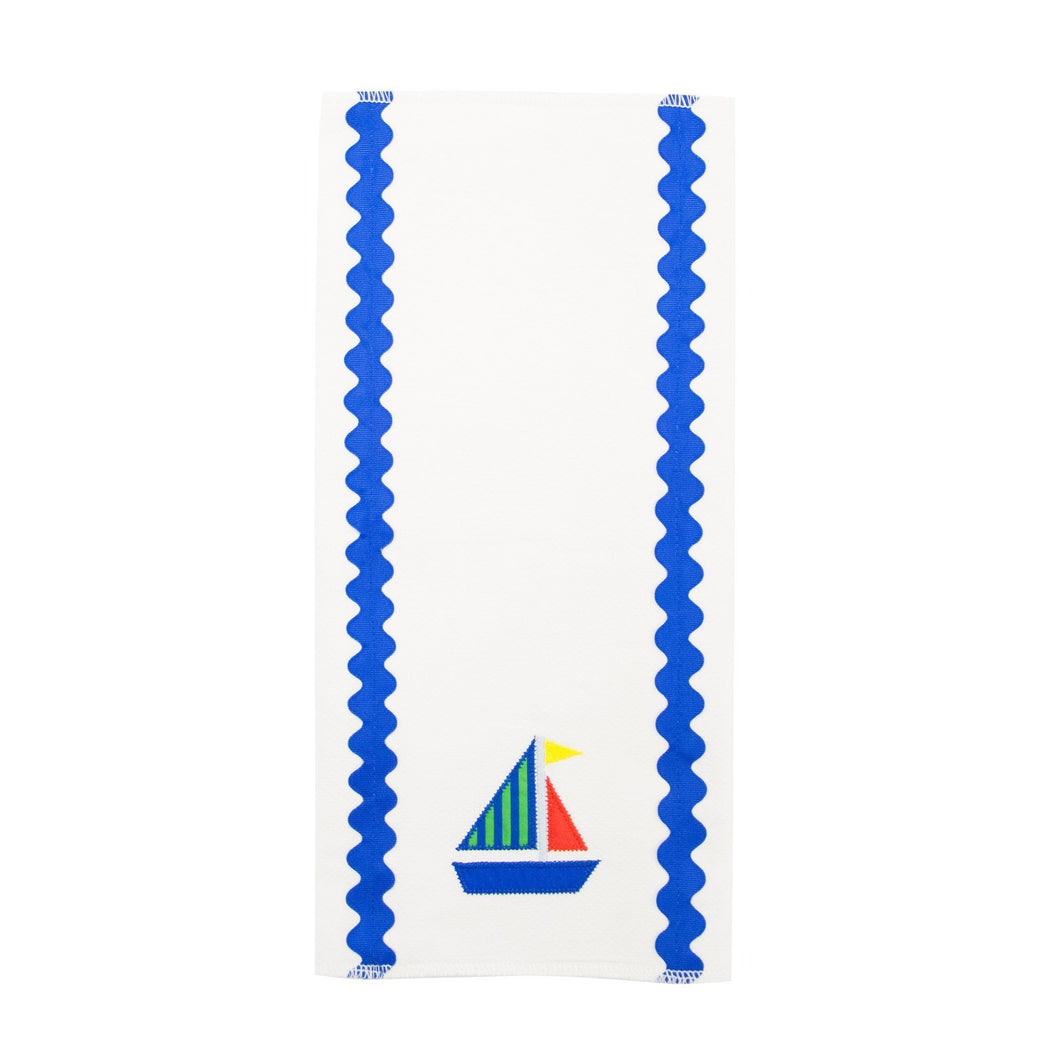 Front view of our Green Sailboat Boy Ric Rac Icon Burp Cloth