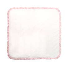 Front view of our Pink Ruffle Blanket