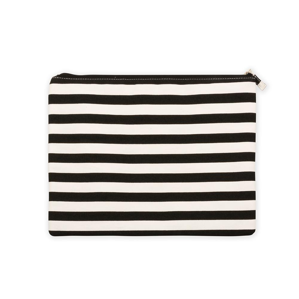 Black stripe family beach pouch