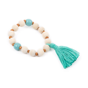 Top view of our Turquoise Spring Tassel Bracelet