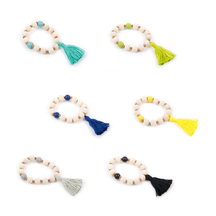 Top view of our Spring Tassel Bracelets