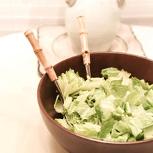Load image into Gallery viewer, Lifestyle view of our Bamboo Salad Tongs