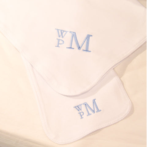 Monogrammed White Stitch Blanket and Burp Cloth