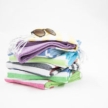 Lifestyle image of our Color Block Beach Towels