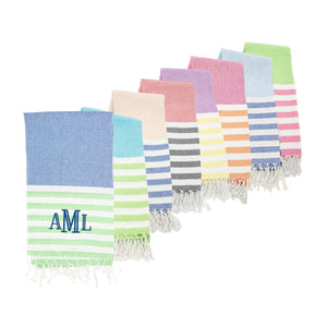 Monogrammed view of our Color Block Beach Towels
