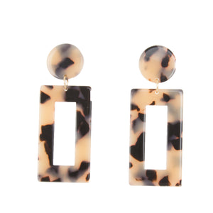 Front view of our Rectangle Blonde Tortoise Earrings