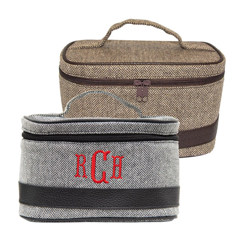 Monogrammed view of our Herringbone Train Cases