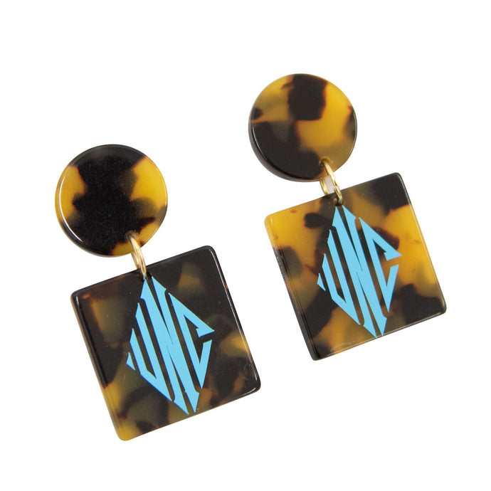 Monogrammed view of our Tortoise Circle Square Earrings
