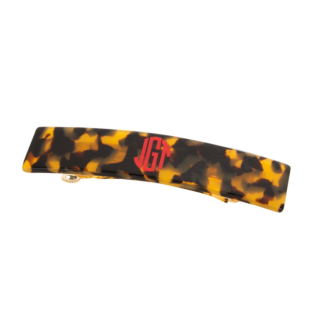 Monogrammed view of our Tortoise Long Hair Barrette