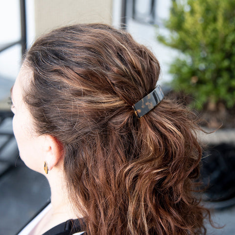 Lifestyle view of our Long Tortoise Hair Barrette