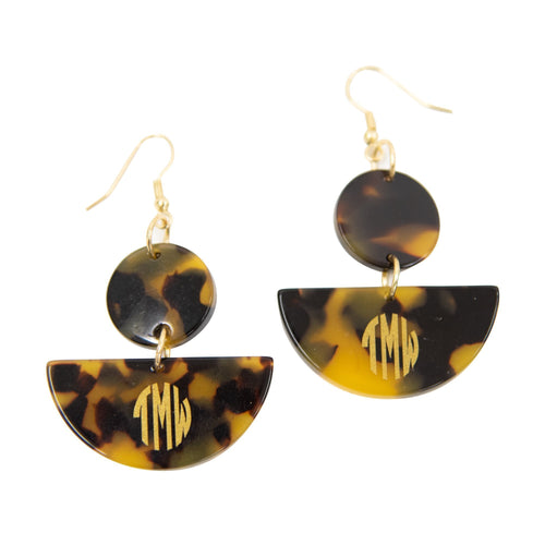 Monogrammed view of our Tortoise Half Moon Earrings
