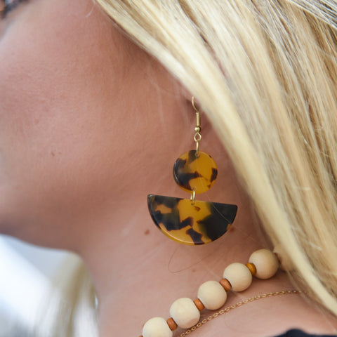 Lifestyle view of our Tortoise Moon Earrings