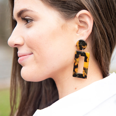 Lifestyle view of our Tortoise Rectangle Earrings