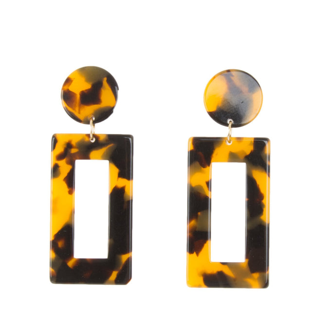 Front view of our Tortoise Rectangle Earrings
