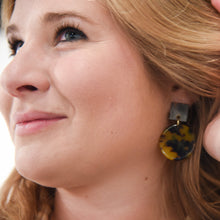 Lifestyle view of our Tortoise Square Circle Earrings
