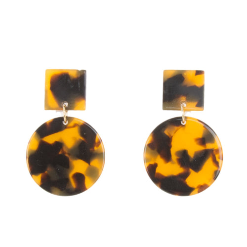 Front view of our Tortoise Square Circle Earrings