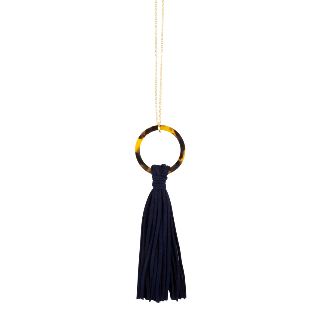 Tortoise Circle Tassel Necklace