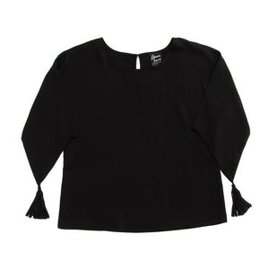 Front view of our Black Tassel Sleeve Shirt