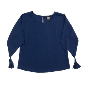 Front view of our Navy Tassel Sleeve Shirt
