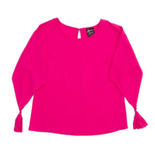 Front view of our Pink Tassel Sleeve Shirt