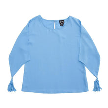 Front view of our Periwinkle Tassel Sleeve Shirt