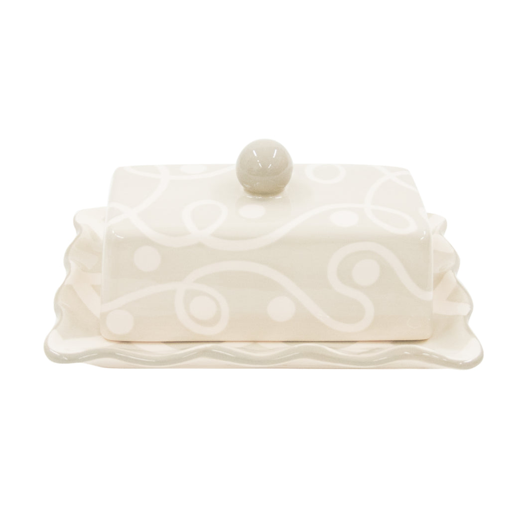 TAUPE WHITE BUTTER DISH