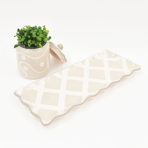 TAUPE WHITE RECTANGLE PLATTER