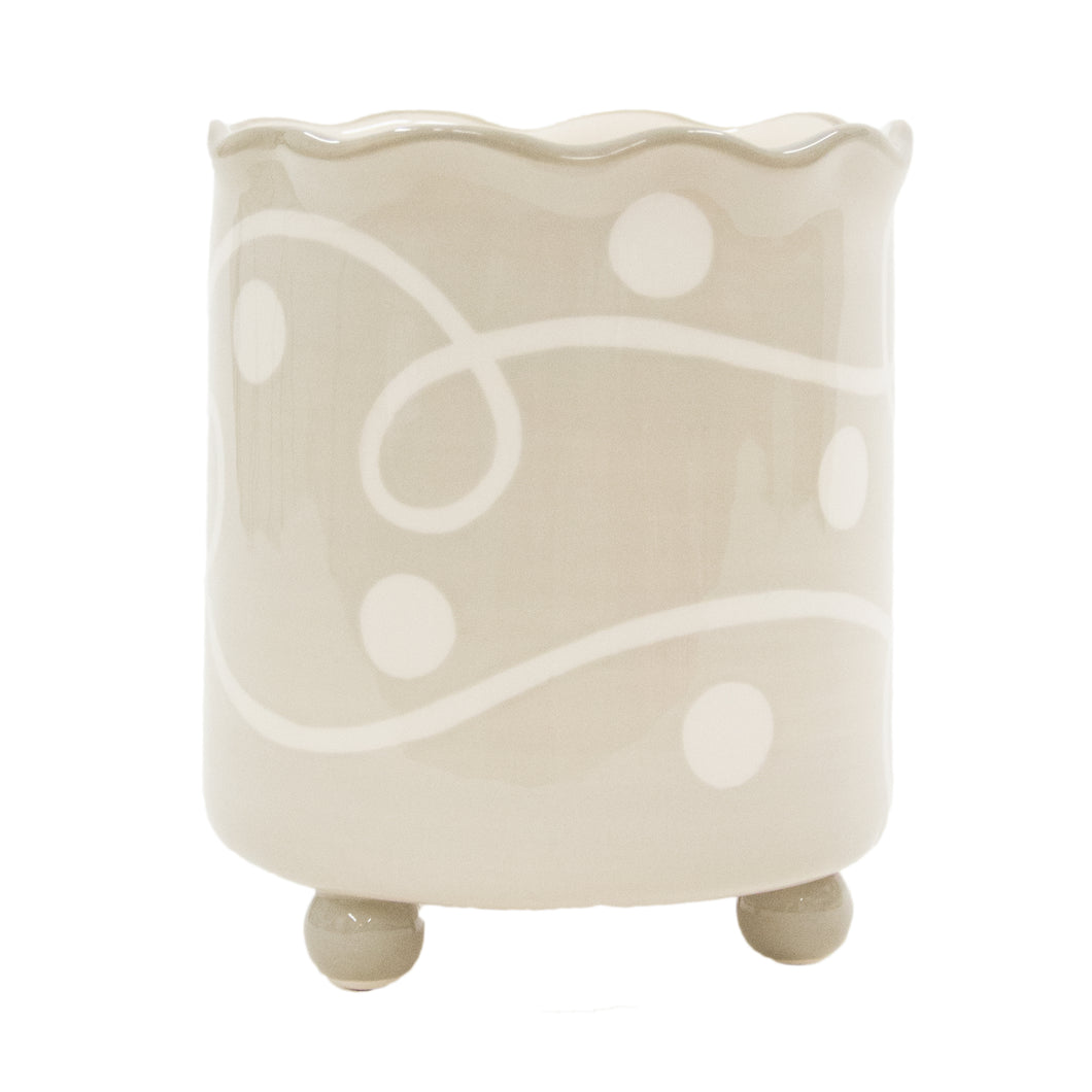 TAUPE WHITE UTENSIL HOLDER