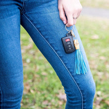 Lifestyle view of our Turquoise Bamboo Chunky Keychain