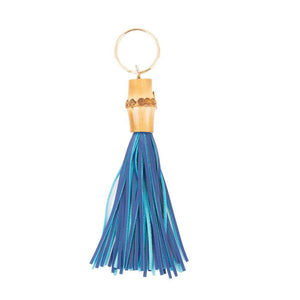 Front view of our Navy Bamboo Chunky Keychain