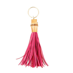 Front view of our Pink Bamboo Chunky Keychain
