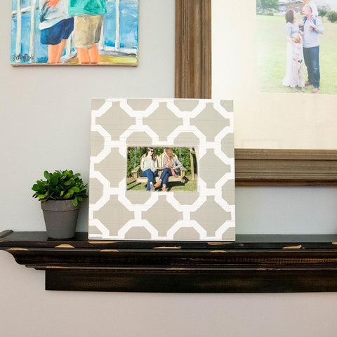 Lifestyle view of our Grey and White Trellis Picture Frame