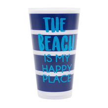 "Load image into Gallery viewer, Front view of ""The Beach is My Happy Place"" Versed Tumbler"