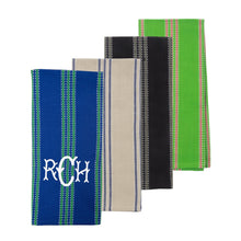Load image into Gallery viewer, Monogrammed view of our Vertical Stripe Dish Towels
