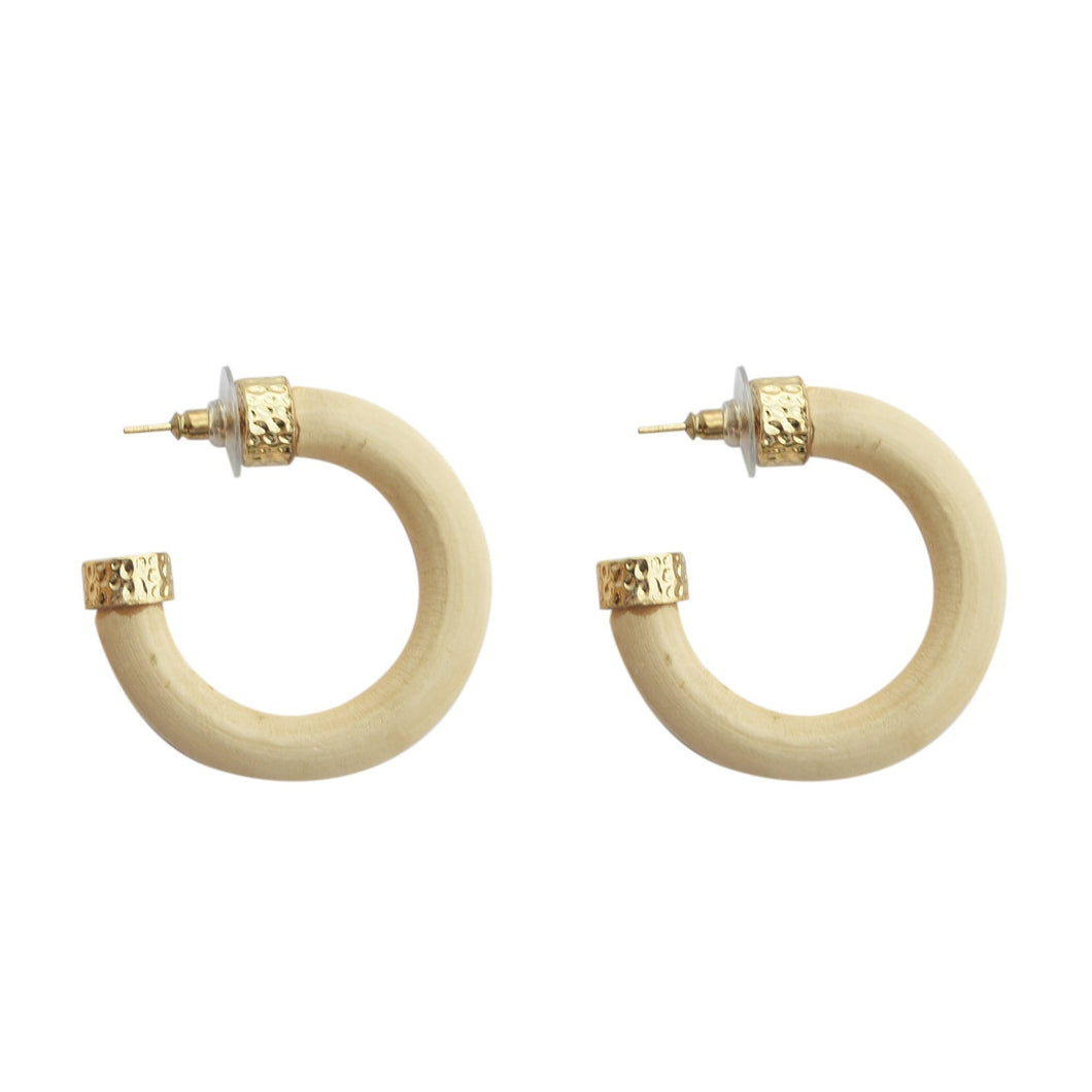 Front view of our Light Wood Hoop Earrings