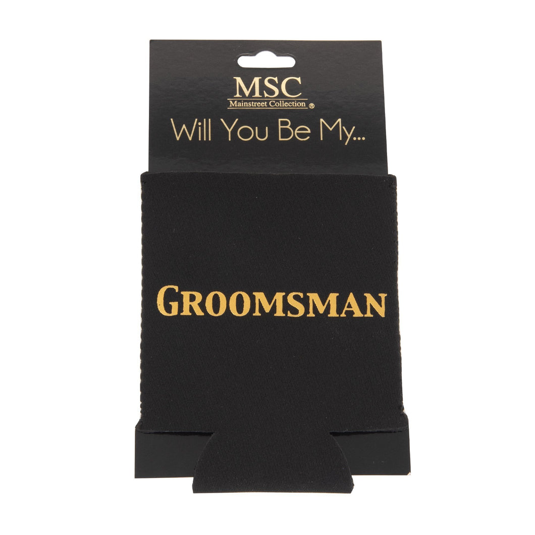 Front view of our Will You Be My Groomsman Koozie