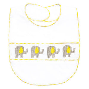 Yellow Elephant Smocked Bib