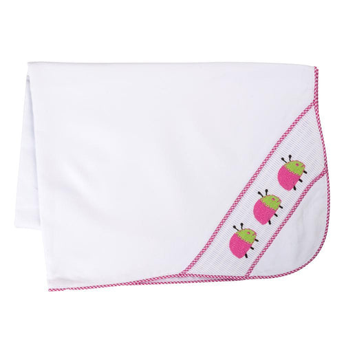 Hot Pink and Lime Ladybug Smocked baby blanket
