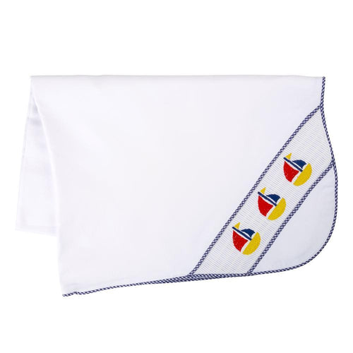 Navy Boat Smocked Blanket