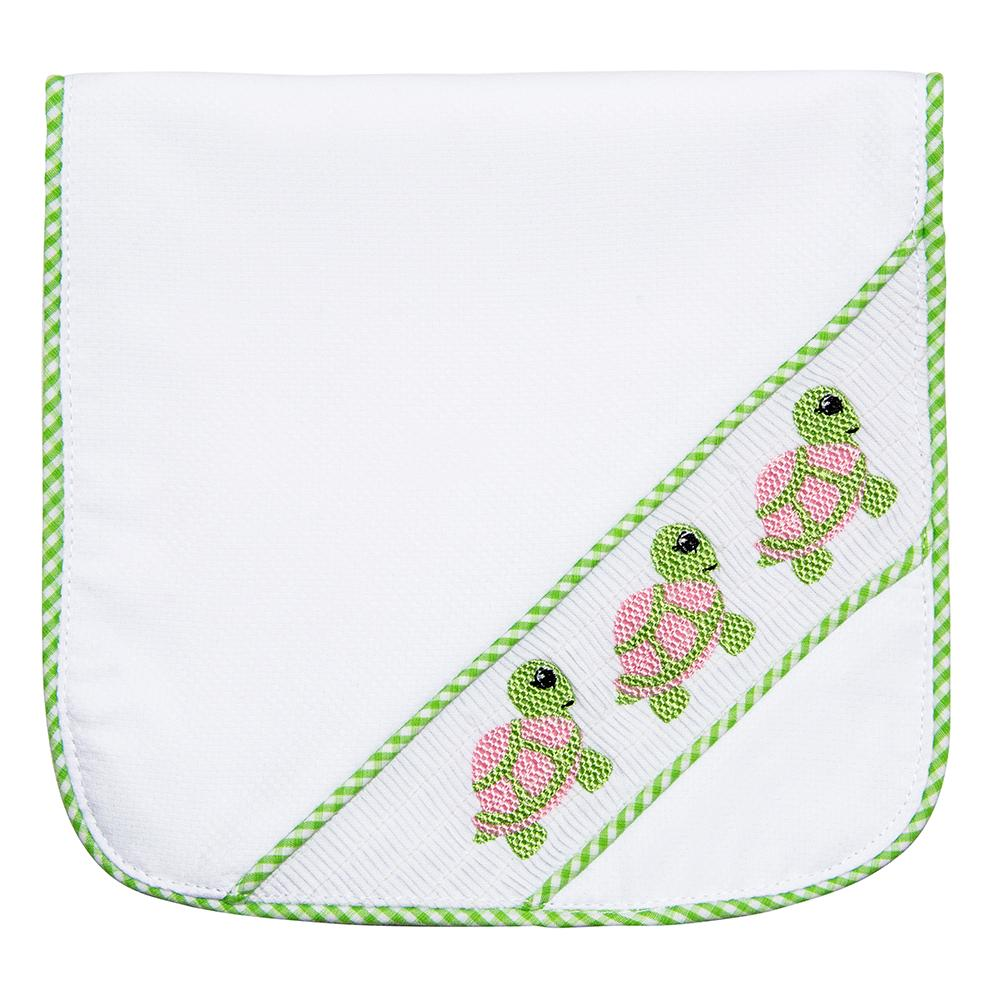 Green Turtle Smocked Burp Cloth