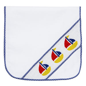 Navy Boat Smocked Burp Cloth