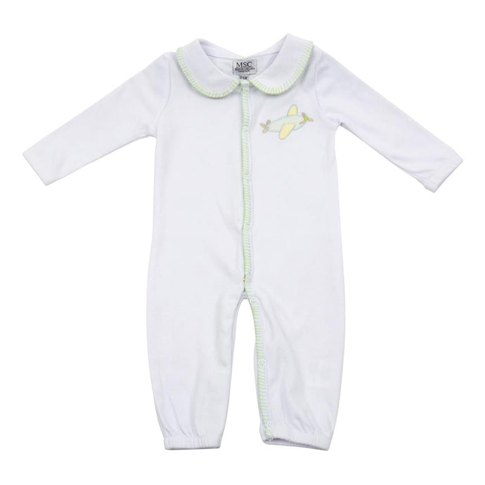 Baby onesie with airplane applique on the left-hand side pocket area