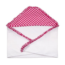 Opened Pink Gingham Hooded Towel