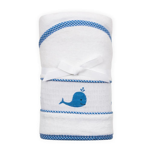 Blue Whale Smocked Hooded Towel