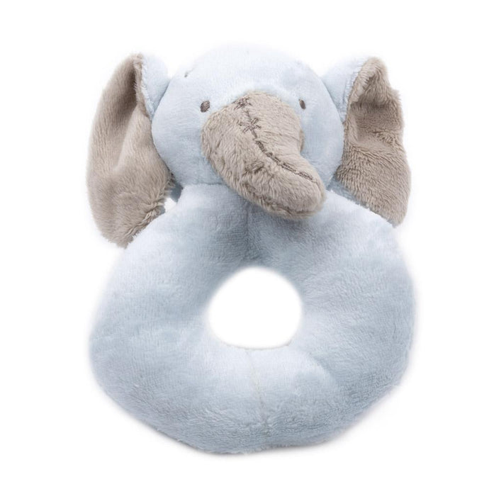 Blue Elephant Plush Rattle