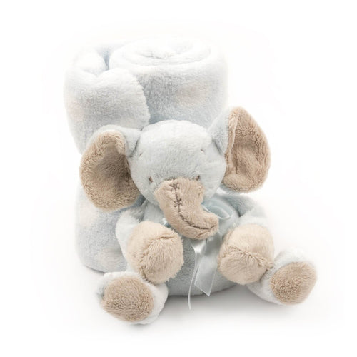 Wrapped plush blanket and plush elephant tied with a bow